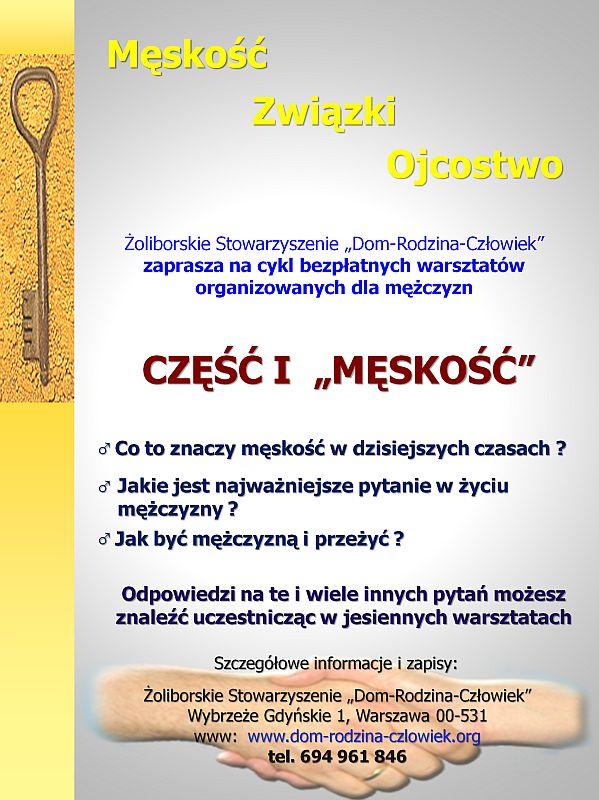 Plakat informacyjny o warsztatach dla mężczyzn